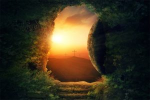 empty grave three crosses